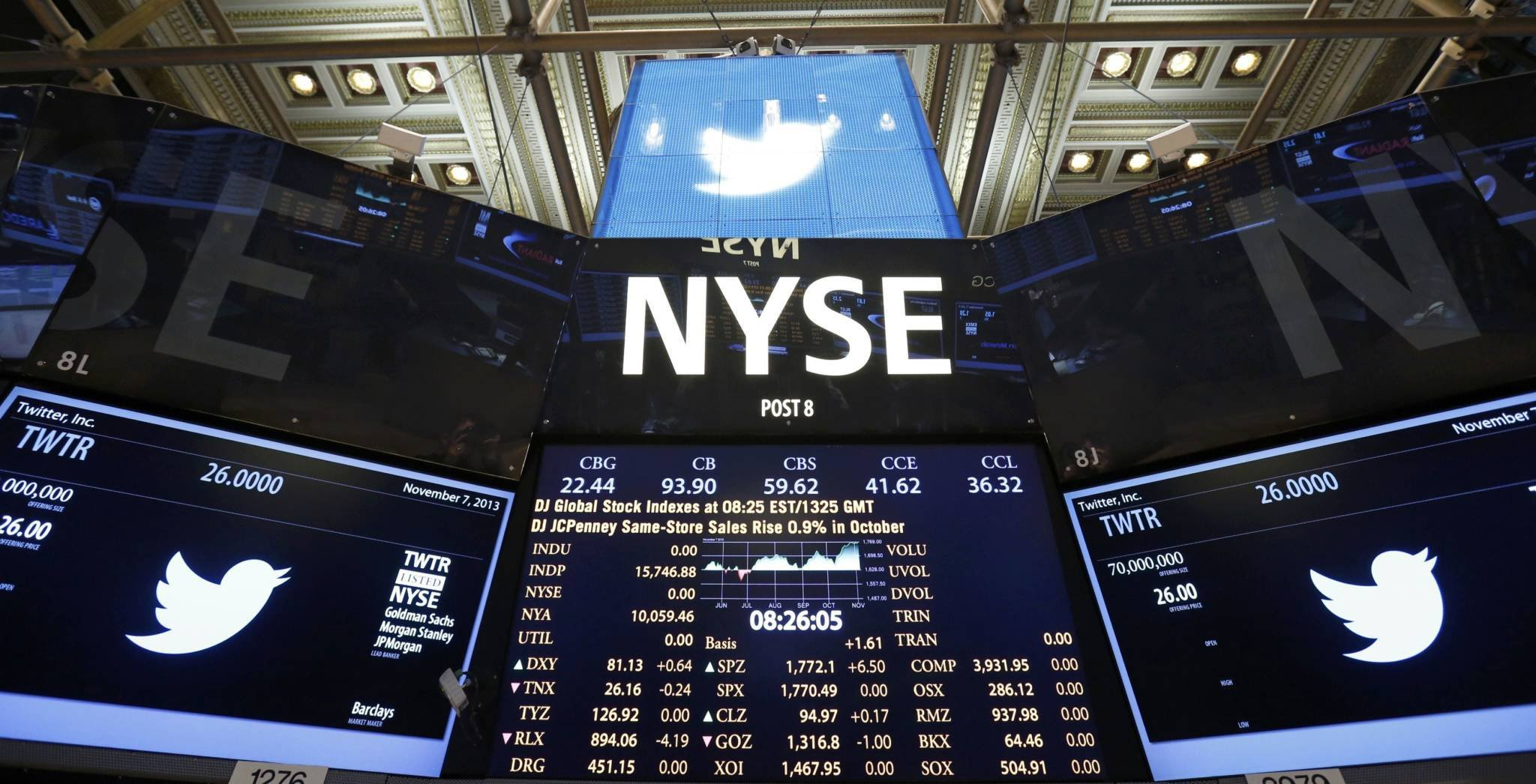 The Twitter logo is seen on the floor before the company's IPO at the New York Stock Exchange in New York, November 7, 2013. REUTERS/Lucas Jackson (UNITED STATES - Tags: BUSINESS) ORG XMIT: TOR206