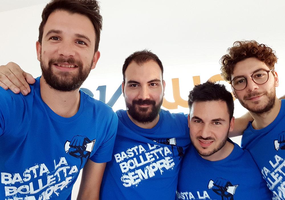 Il team di Revoluce: Emiliano Siano, Giuseppe Dell'Acqua Brunone, Mario Turco e Alessio Dell'Acqua Brunone
