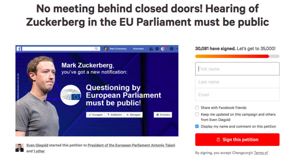 30.000 firme per chiedere l'udienza pubblica di Zuckerberg