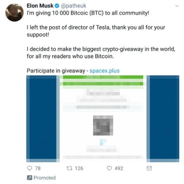 Elon Musk usato per vendere Bitcoin - Fonte BBC