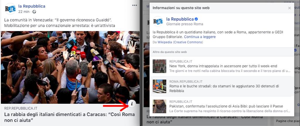 Facebook mostra le informazioni sulle testate editoriali