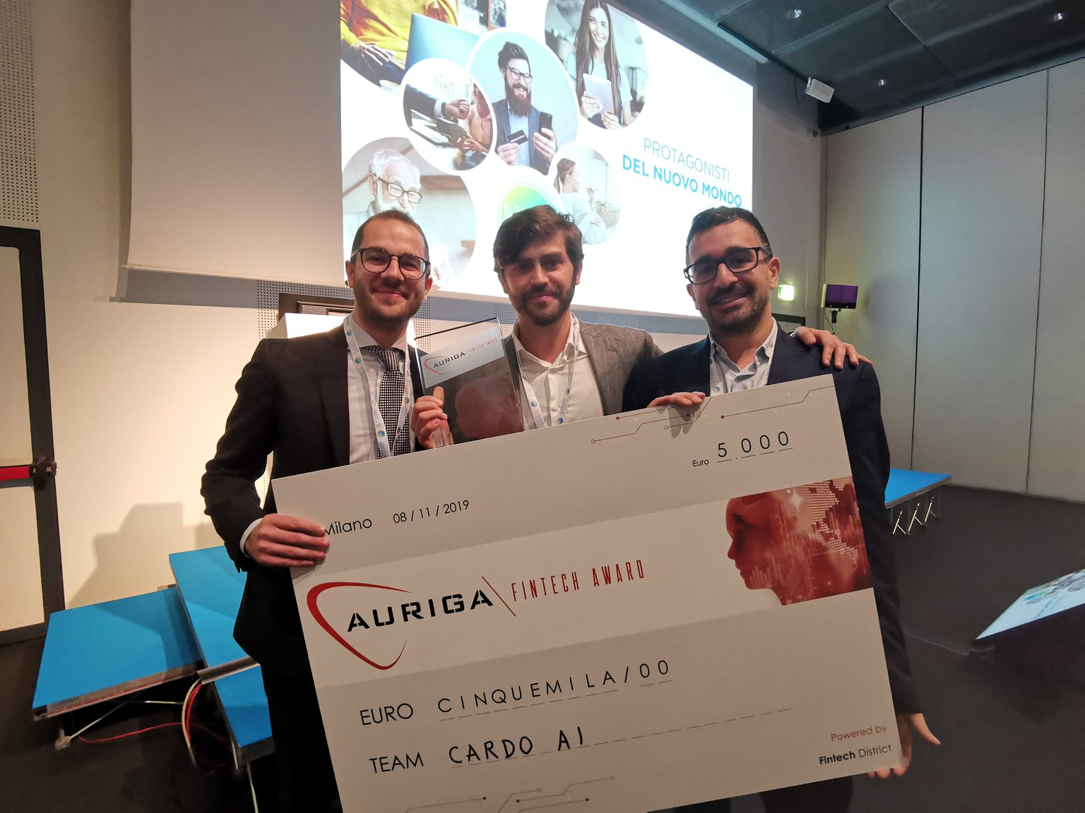 Cardo AI vince l'Auriga Fintech Award. Intelligenza artificiale per l'open innovation