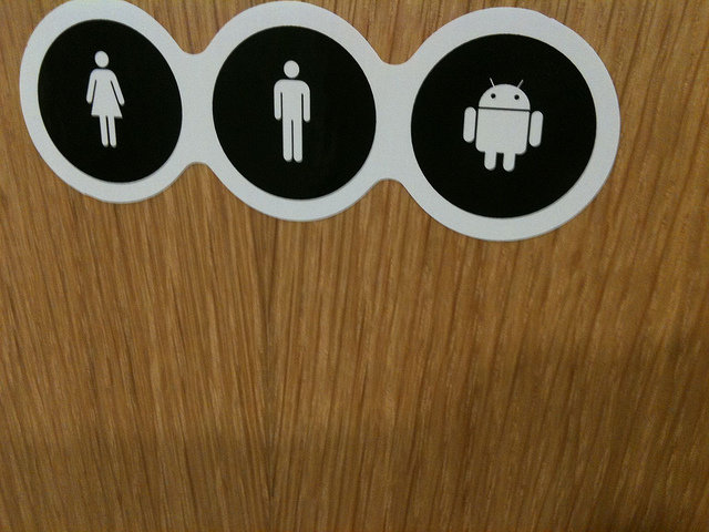 Paul Keller women | men | robots  toilet door at the google office in Bruxelles