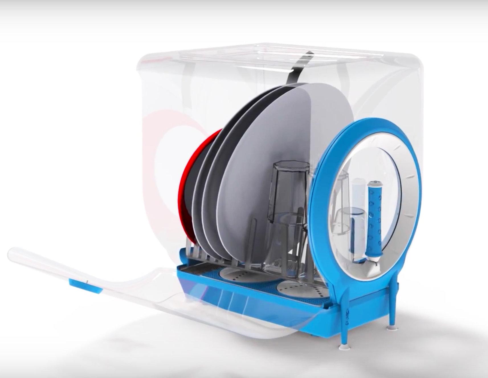 La lavastoviglie a manovella che pulisce i piatti in un minuto
