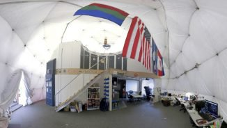 This Aug. 9, 2015 photo provided by the University of Hawaii shows the interior of the domed structure that will house six researchers for eight months in an environment meant to simulate an expedition to Mars, on Mauna Loa on the Big Island of Hawaii. The group will enter the dome Thursday, Jan. 19, 2017, and spend eight months together in the 1,200 square foot research facility in a study called Hawaii Space Exploration Analog and Simulation (HI-SEAS). They will have no physical contact with any humans outside their group, experience a 20-minute delay in communications and are required to wear space suits whenever they leave the compound. (Sian Proctor/University of Hawaii via AP)