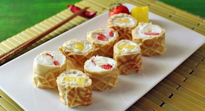 Fruity Waffle Sushi