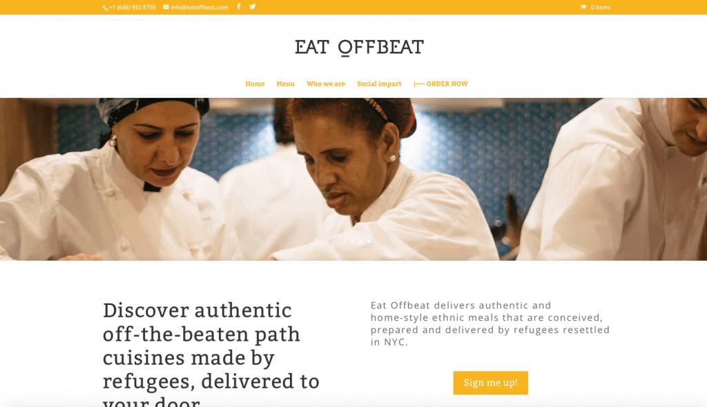 Una schermata del sito di Eat Offbeat