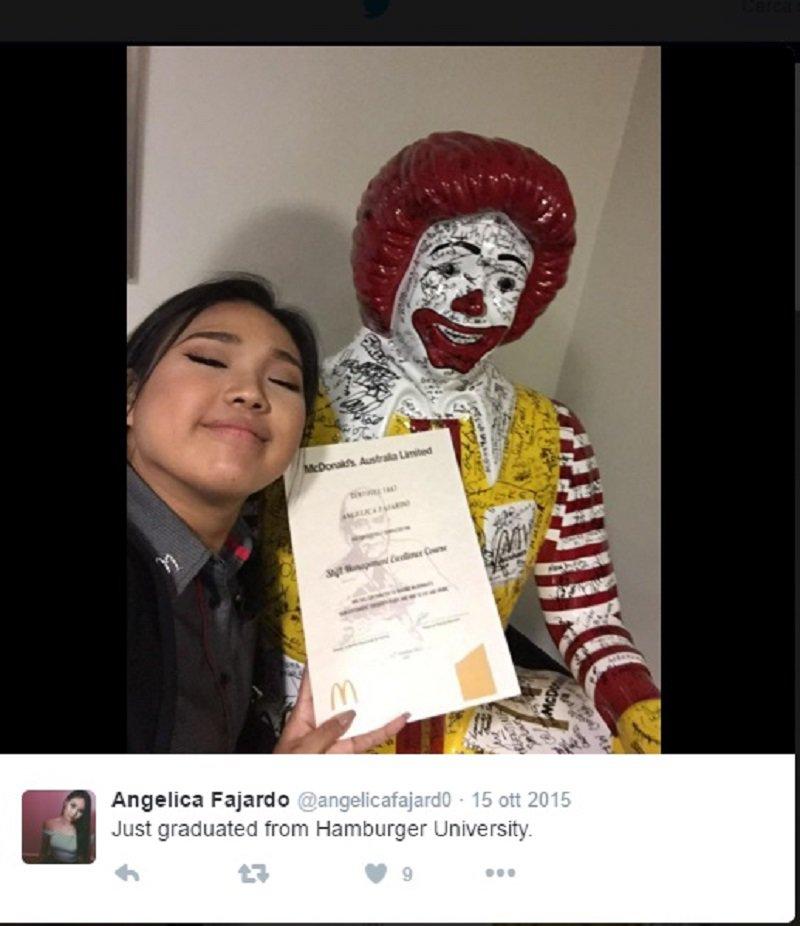 """Angelica Fajardo, laureata in """"hamburgerologia"""""""