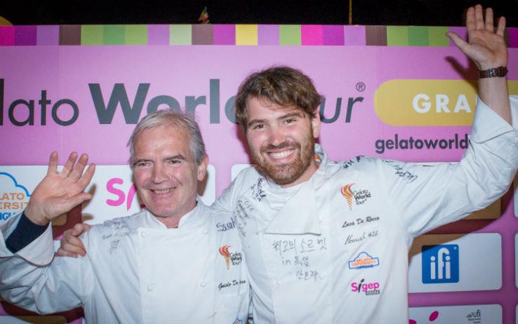Guido e Luca De Rocco durante la premiazione del Gelato World Tour