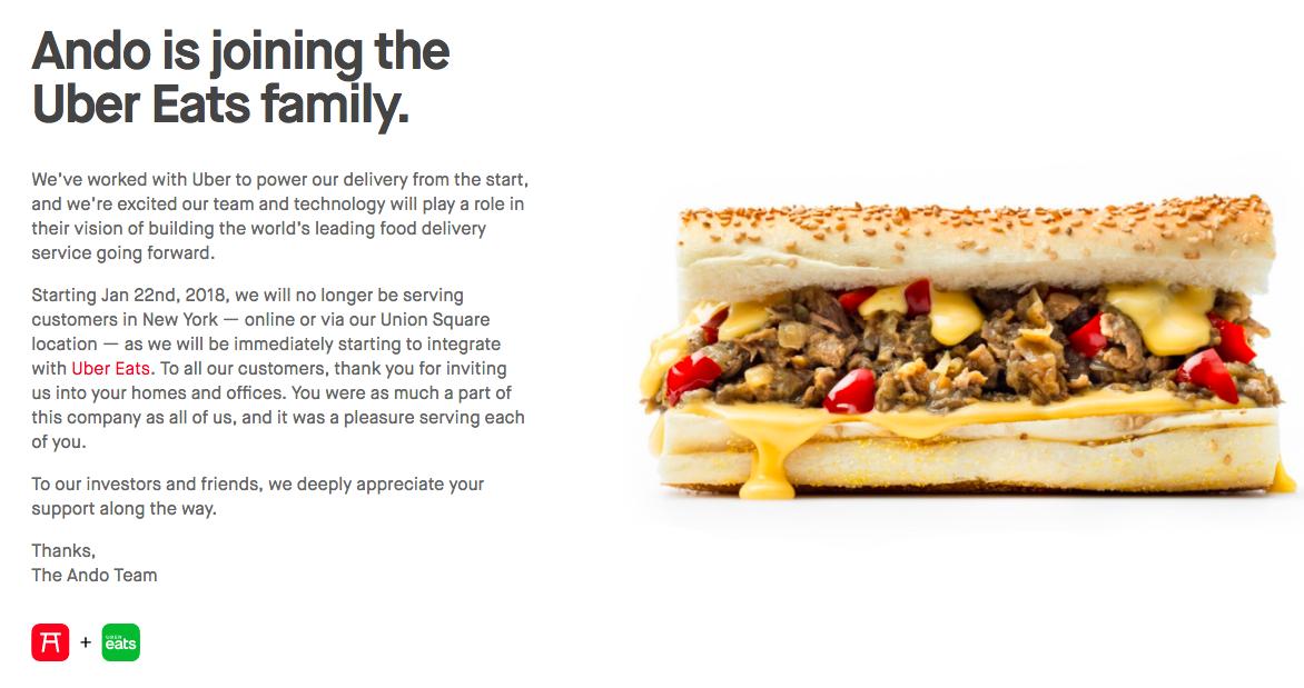 """Uber Eats acquisisce la startup Ando, """"Diventeremo la più grande azienda food delivery al mondo"""""""
