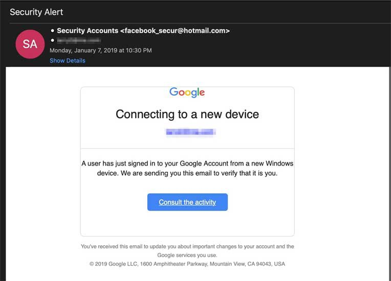 phishing email Google Translate