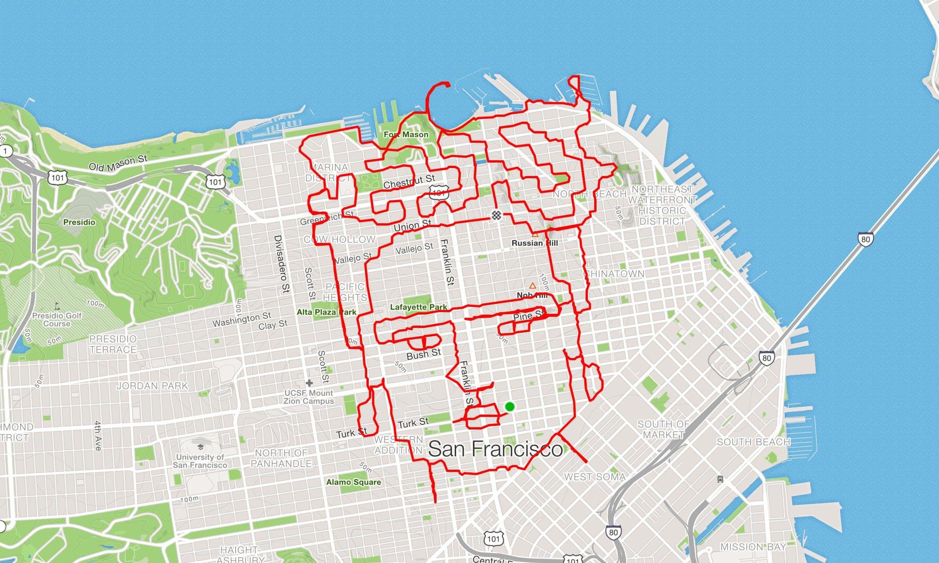 Disegnare in corsa: il gioco di un runner per realizzare opere d'arte con gli allenamenti