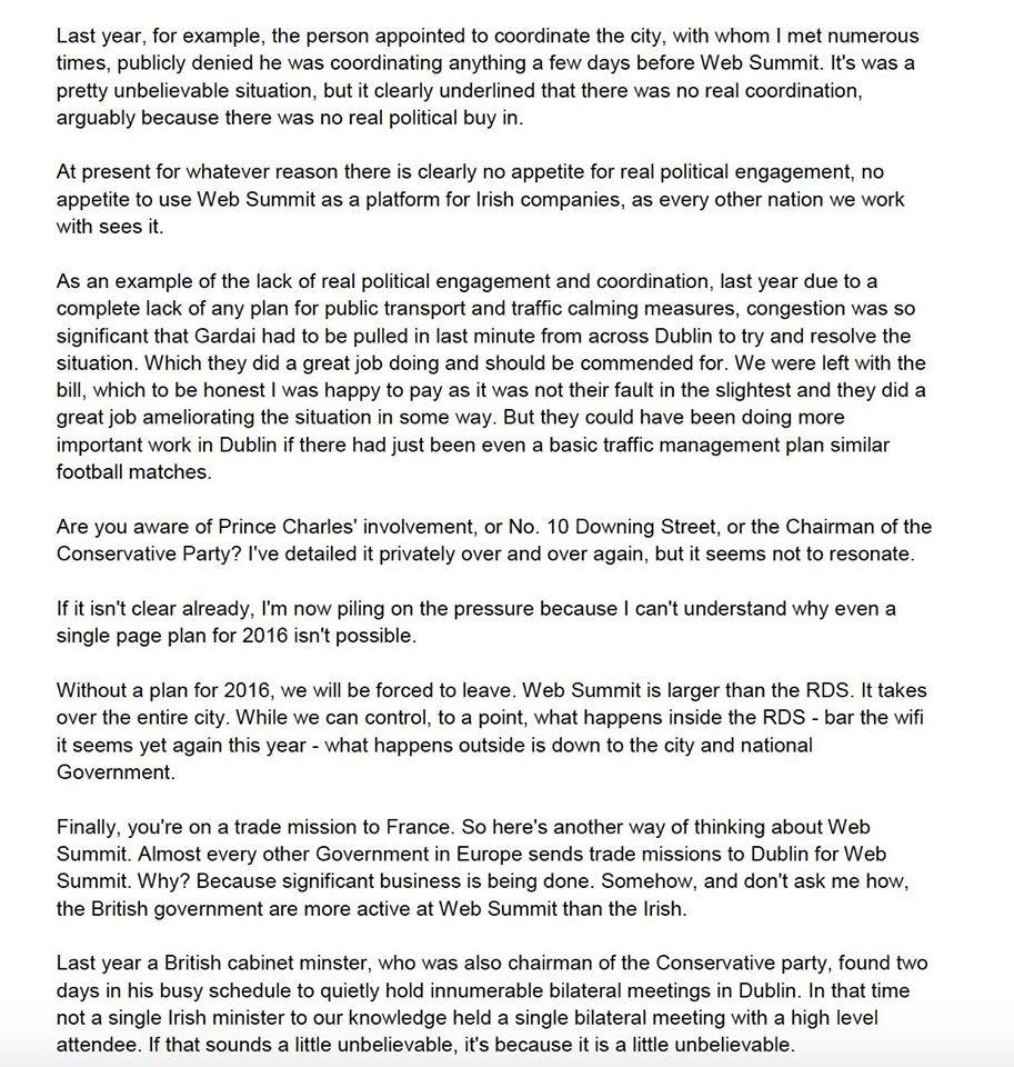 La lettera di Cosgrave dove spiega i problemi con le autorità di Dublino