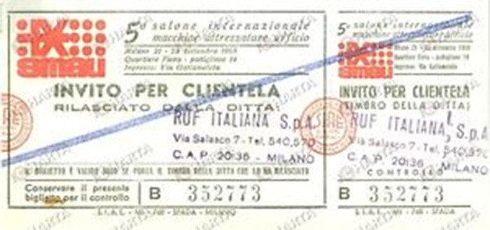 Un biglietto dello Smau del 1968