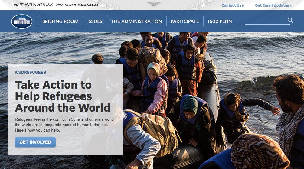 La campagna #AidRefugees in apertura sul sito ufficiale della Casa Bianca