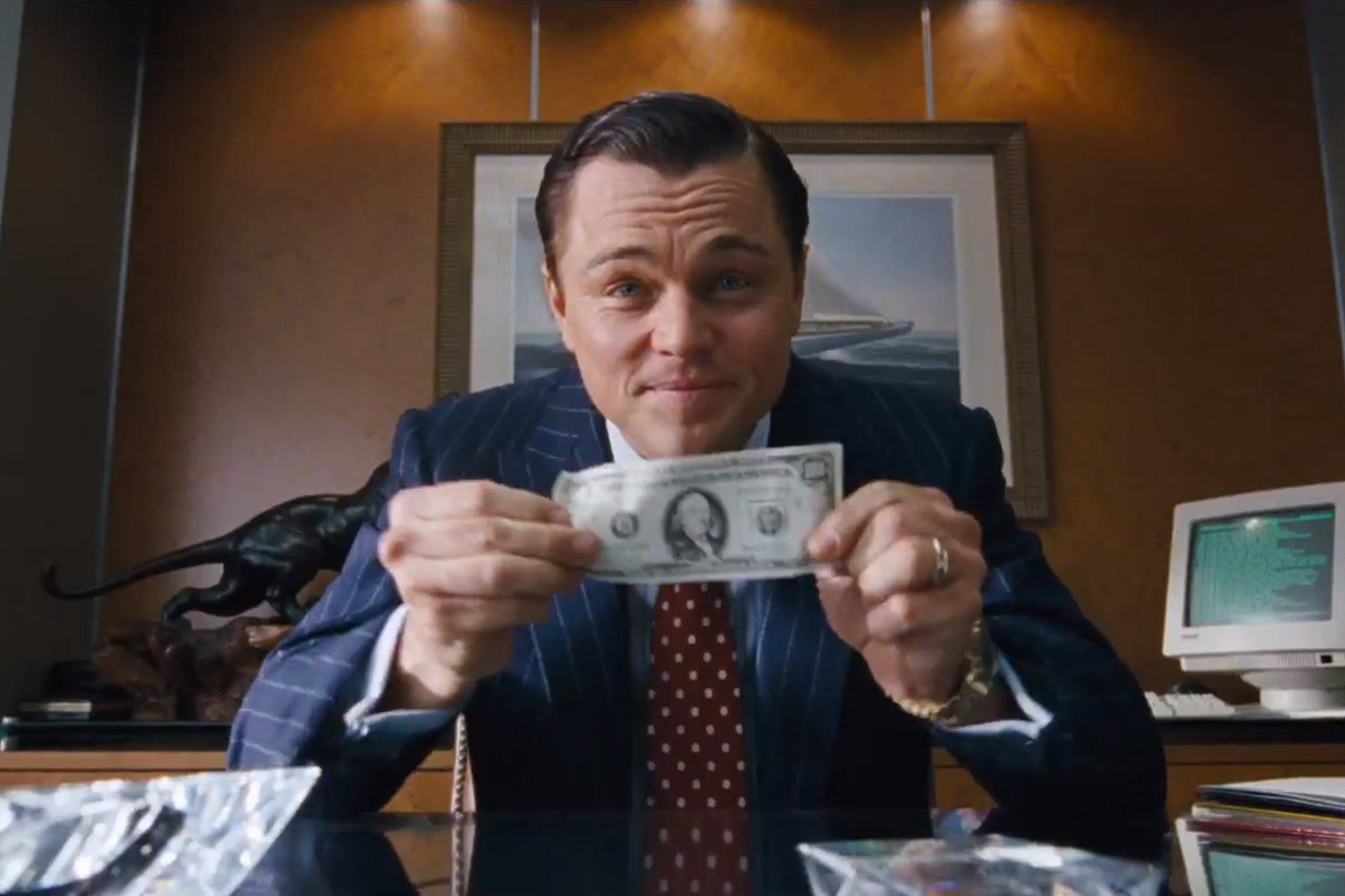 "Leonardo Di Caprio, in una scena del film ""The Wolf of Wall Street"""