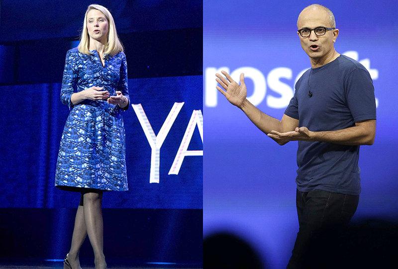 Marissa Meyer, Ceo di Yahoo (a sinistra). Satya Nadella, Ceo di Microsoft (a destra)