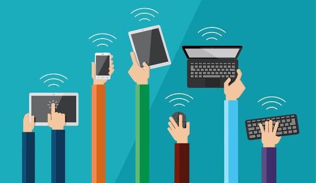 Illustration of hands holding hi tech devices. Vector set of fla