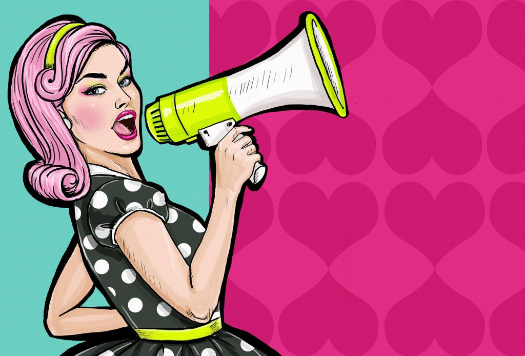 Pop art girl with megaphone. Woman with loudspeaker. Girl announ