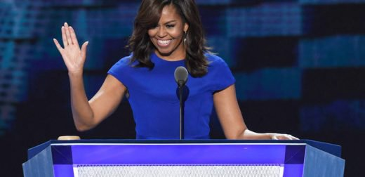 US First Lady Michelle Obama gestures during Day 1 of the Democratic National Convention at the Wells Fargo Center in Philadelphia, Pennsylvania, July 25, 2016. / AFP / SAUL LOEB        (Photo credit should read SAUL LOEB/AFP/Getty Images)
