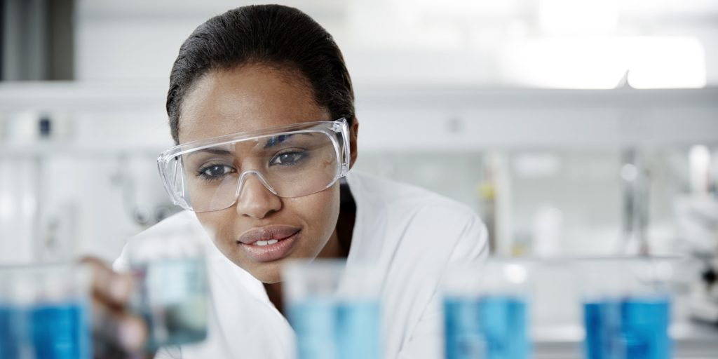 Scientist examining laboratory samples