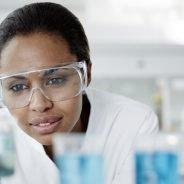 Scientist examining laboratory samples
